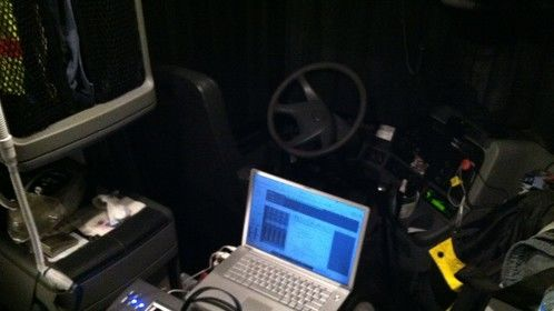Composing music in a Freightliner!