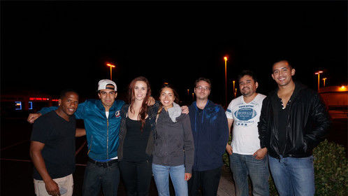 Hanging with my crew and cast. That's a wrap. Road To Nowhere Trailer.