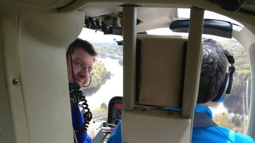 In a helicopter, May 2012.