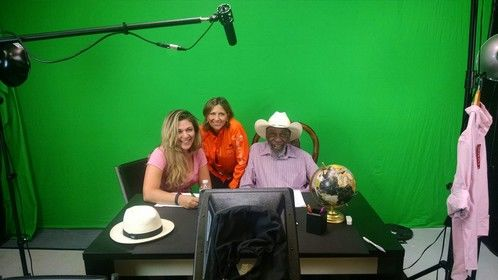 """Animator Shelly Perlman (left) with Bill Cobbs.  I'm working behind the scenes and voicing lead animated character """"Eco"""" with the great Bill Cobbs."""