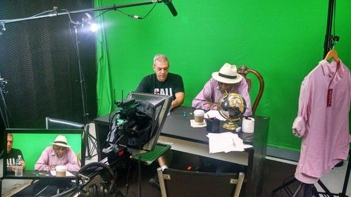 Director Sar Perlman reviewing the script with Bill Cobbs.