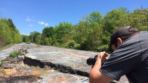 Shooting location footage in Centralia, PA