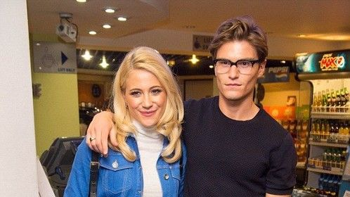 Date night: Pixie Lott was rocking the double denim when she attended the Guvnors premiere at the Odeon cinema in Covent Garden with her boyfriend Oliver Cheshire on Wednesday night.