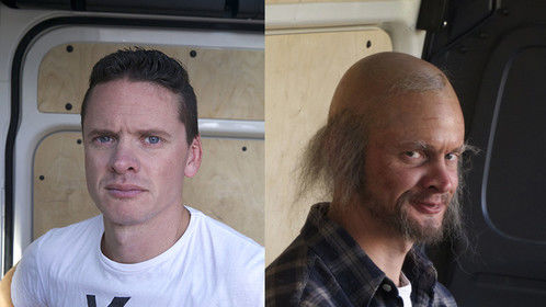Character for a commercial. The actor before and after makeup