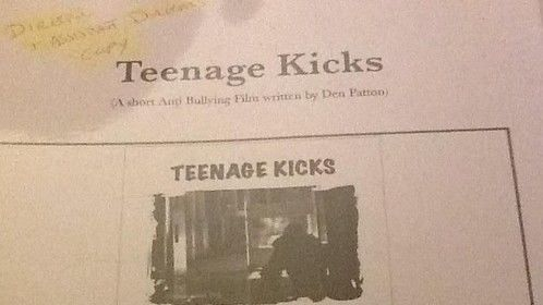 The Original script given to all the actors from the short film TEENAGE KICKS