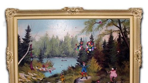 "Endangered Species/1983 Clown Camp  Complete!! Must see in person, photo is tough on details. Oil on Canvas  30"" x 42"" Antique Frame included (used found oil painting by E.A Lois as back drop for my subjects)"