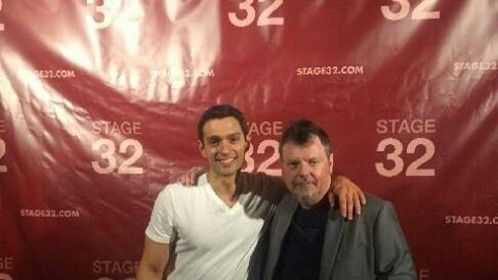 Zergog and Joey Tuccio at the Stage 32 3rd year anniversary party in Los Angeles.