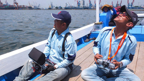 Our Pilot Bowie & Antok from earthsense for Tanjung Priok Port Break Water Corporate Video Project.