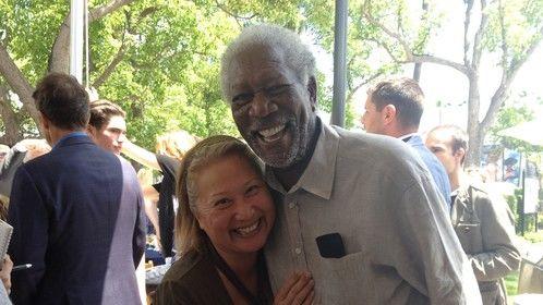 "w/Morgan (Freeman) for ""Madam Secretary"" at LA Screenings. Awesome personality!"
