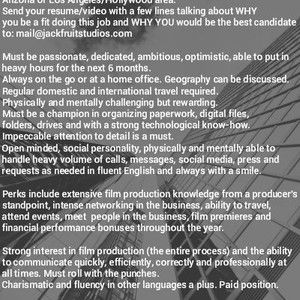 Personal Assistant- Film Producer/Director