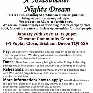 Open theatre auditions: Shakespeare's A Midsu