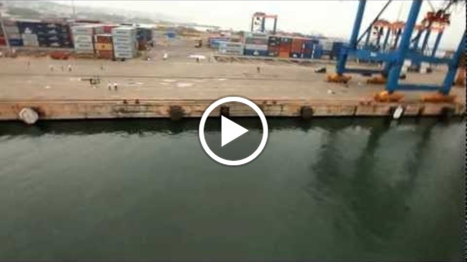 Helicam aerial shot - container yard