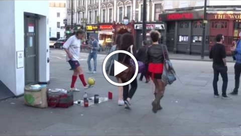 Amazing Trick Football Skills demonstrated by Hristo Petkov on Camden Market High Street, London.