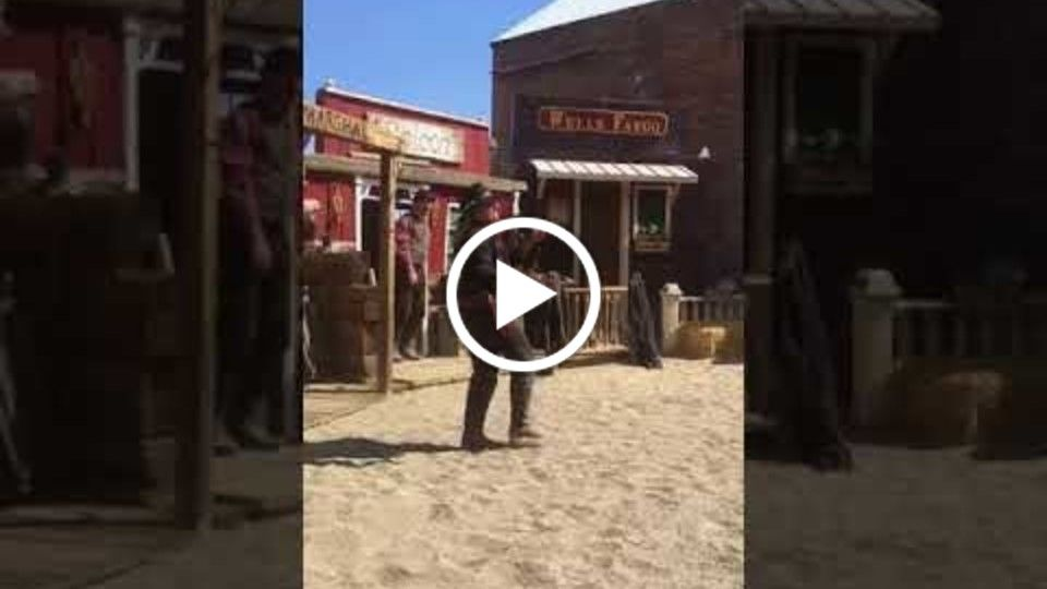 Alana Phillips Gun Spinning in the Virginia City Outlaws Wild West Comedy Show