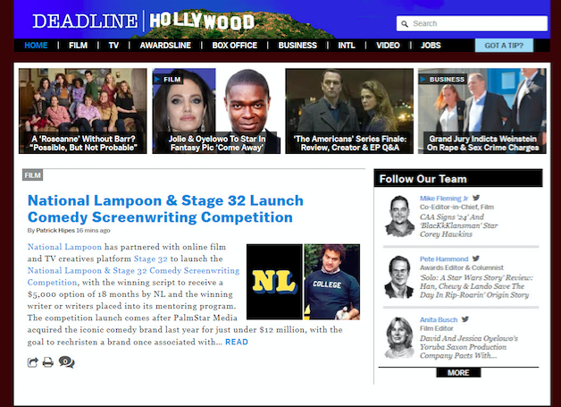 Stage 32 Joins Forces With National Lampoon to Find the Next Great Comedy Writer