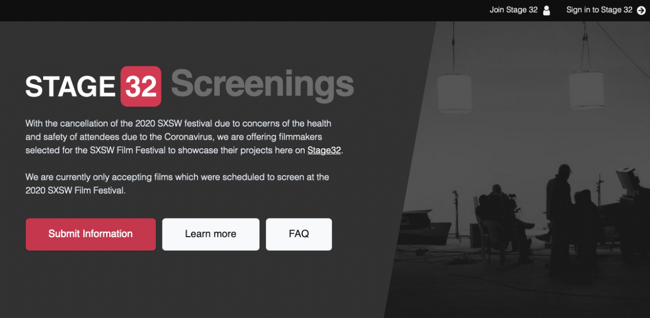SPECIAL ANNOUNCEMENT Stage 32 to Screen Films Affected by SXSW Cancellation