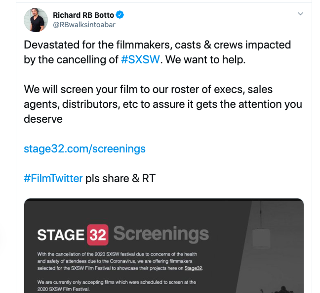 IMPORTANT ANNOUNCEMENT Stage 32 to Screen Films Affected by SXSW Cancellation